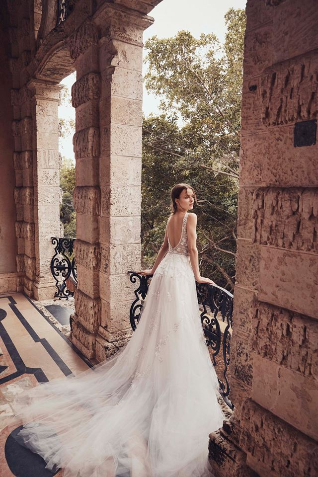 low back gown with tulle skirt lace