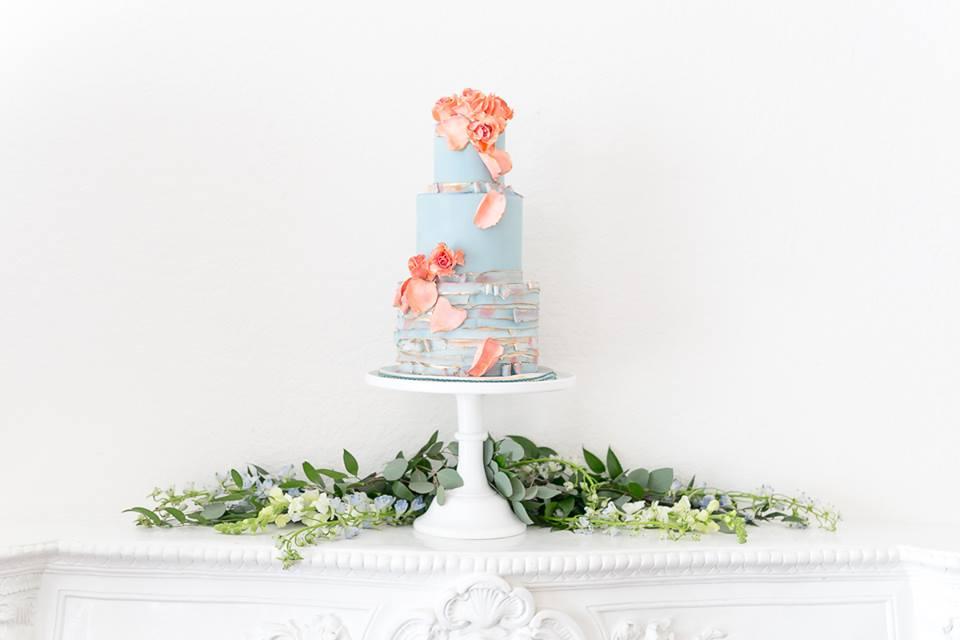 light baby blue three tier wedding cake spring wedding