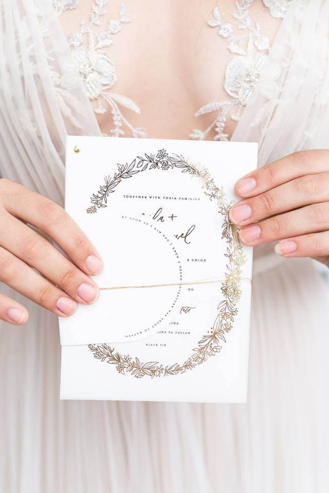 white and gold wedding invitation florida wedding vendors