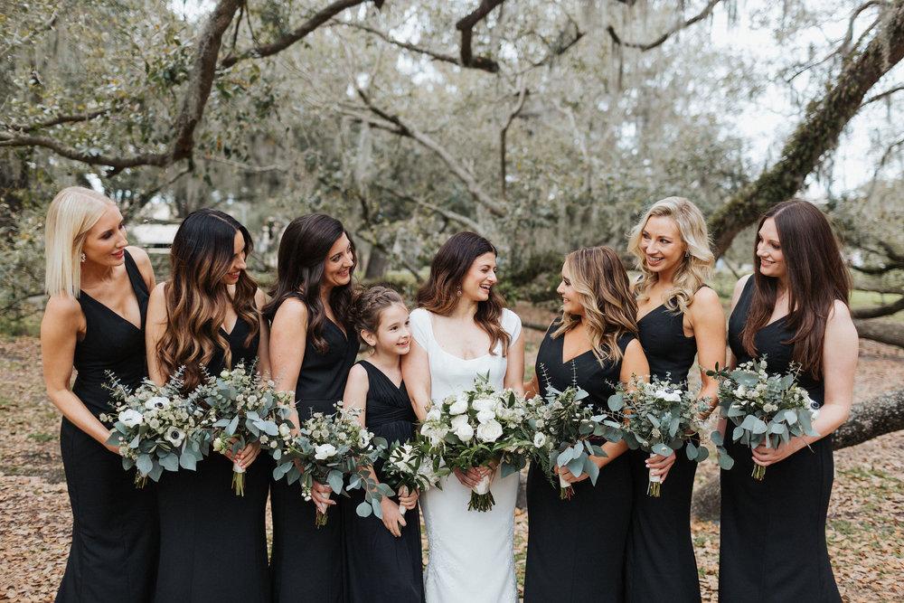 black bridesmaids dresses luxury downtown orlando wedding