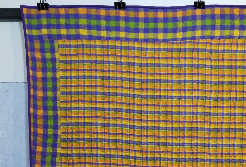 Two complimentary flannel fabrics used, the smaller plaid as top with the larger plaid as border.