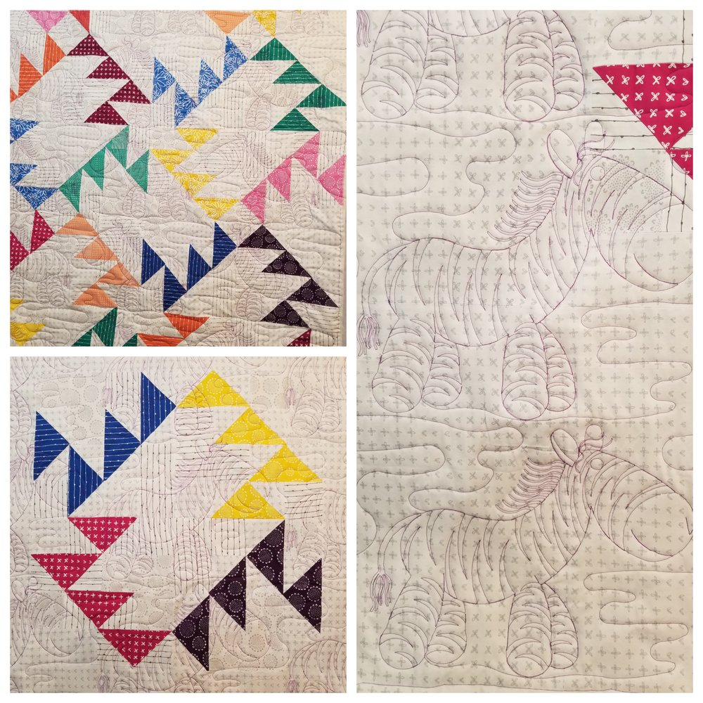Top left is the front of the quilt, bottom left is the back of the quilt. On the right is a closeup of the quilting.  Just love the zebra!