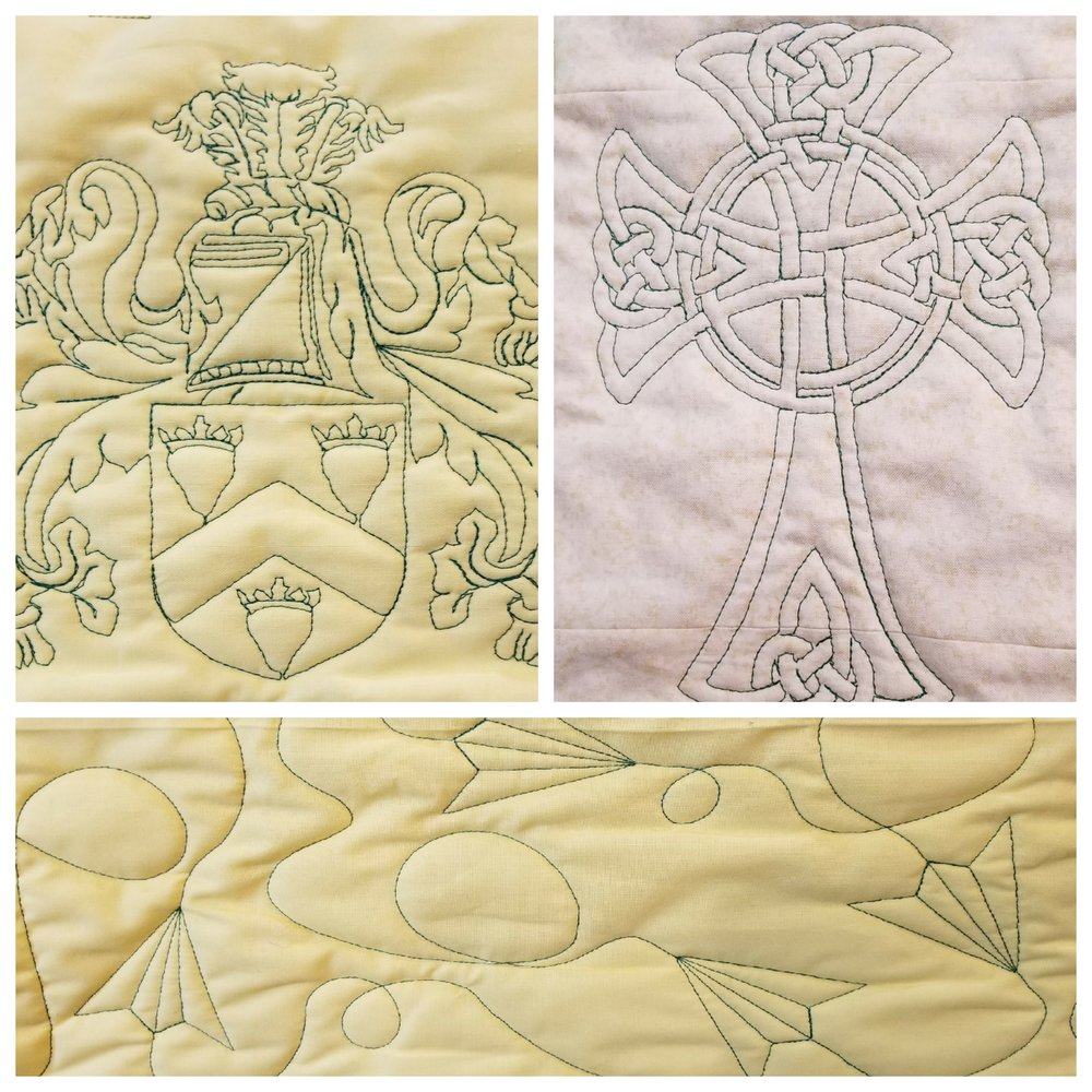We have a piece of yellow fabric with a variety of designs to show customers. The Celtic Cross is from the quilt it was quilted on.