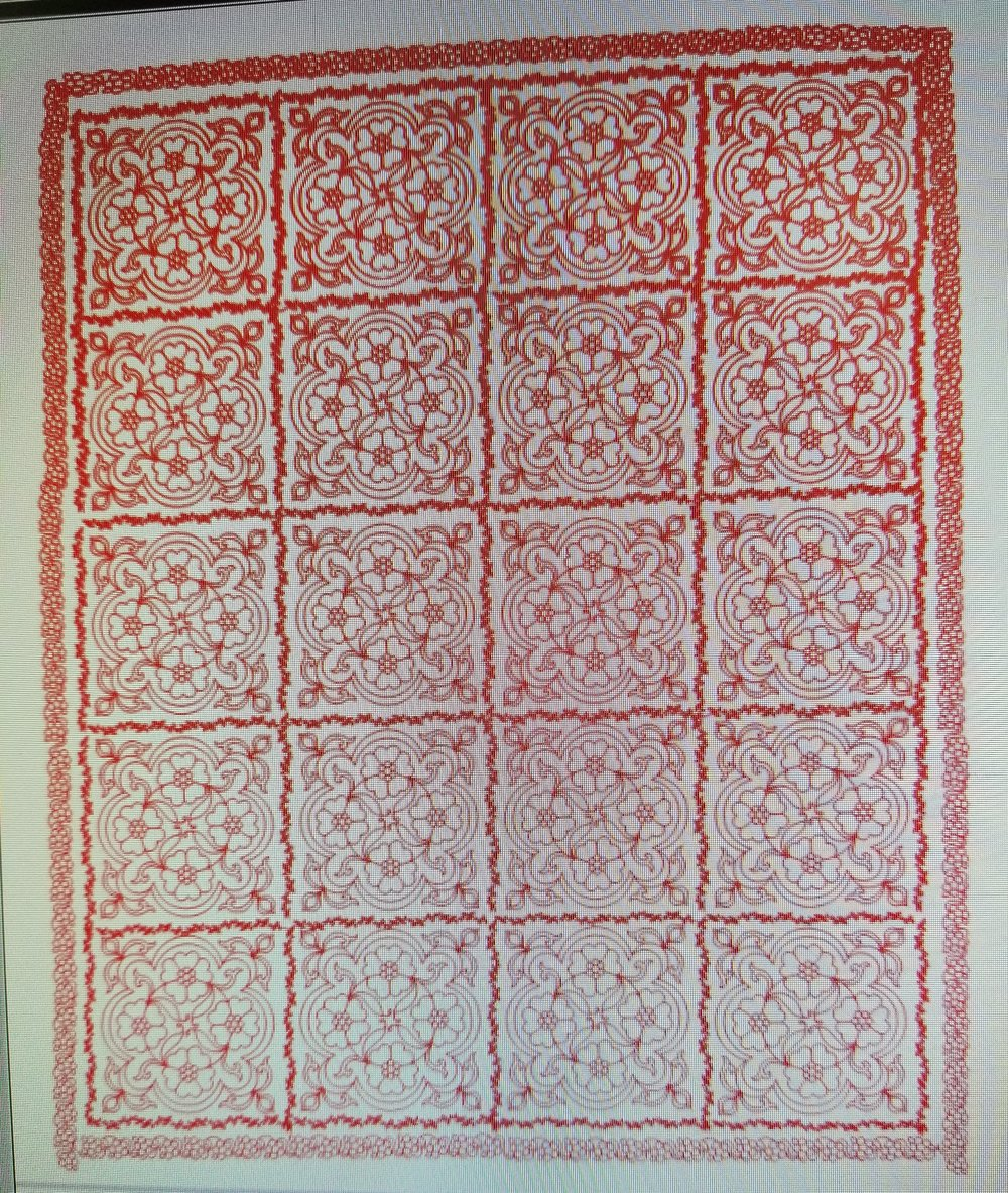 A grainy photo of the computer screen, but red shows completed stitching. It's all done - over 338,000 stitches!