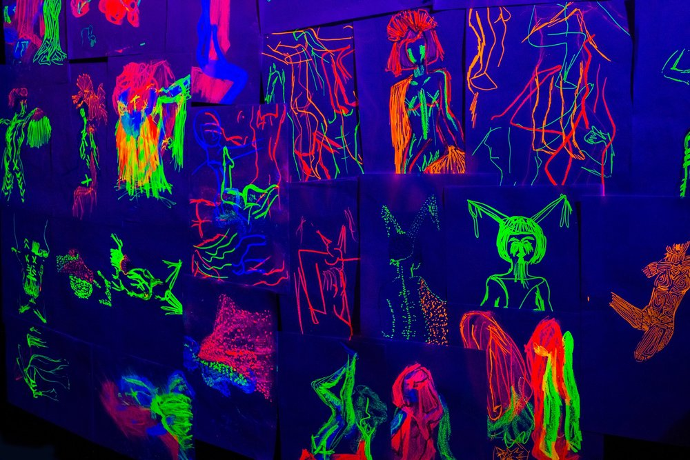 Naked Neon Drawings