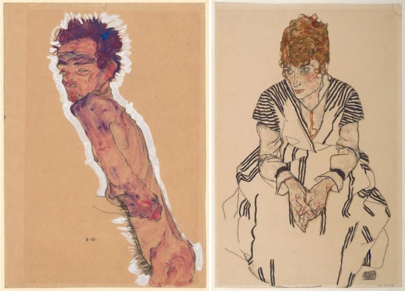 Egon-Schiele-Nude-Self-Portrait-1910-Egon-Schiele-Portrait-of-the-Artist's-Sister-in-law-Adele-Harms-1917.jpg