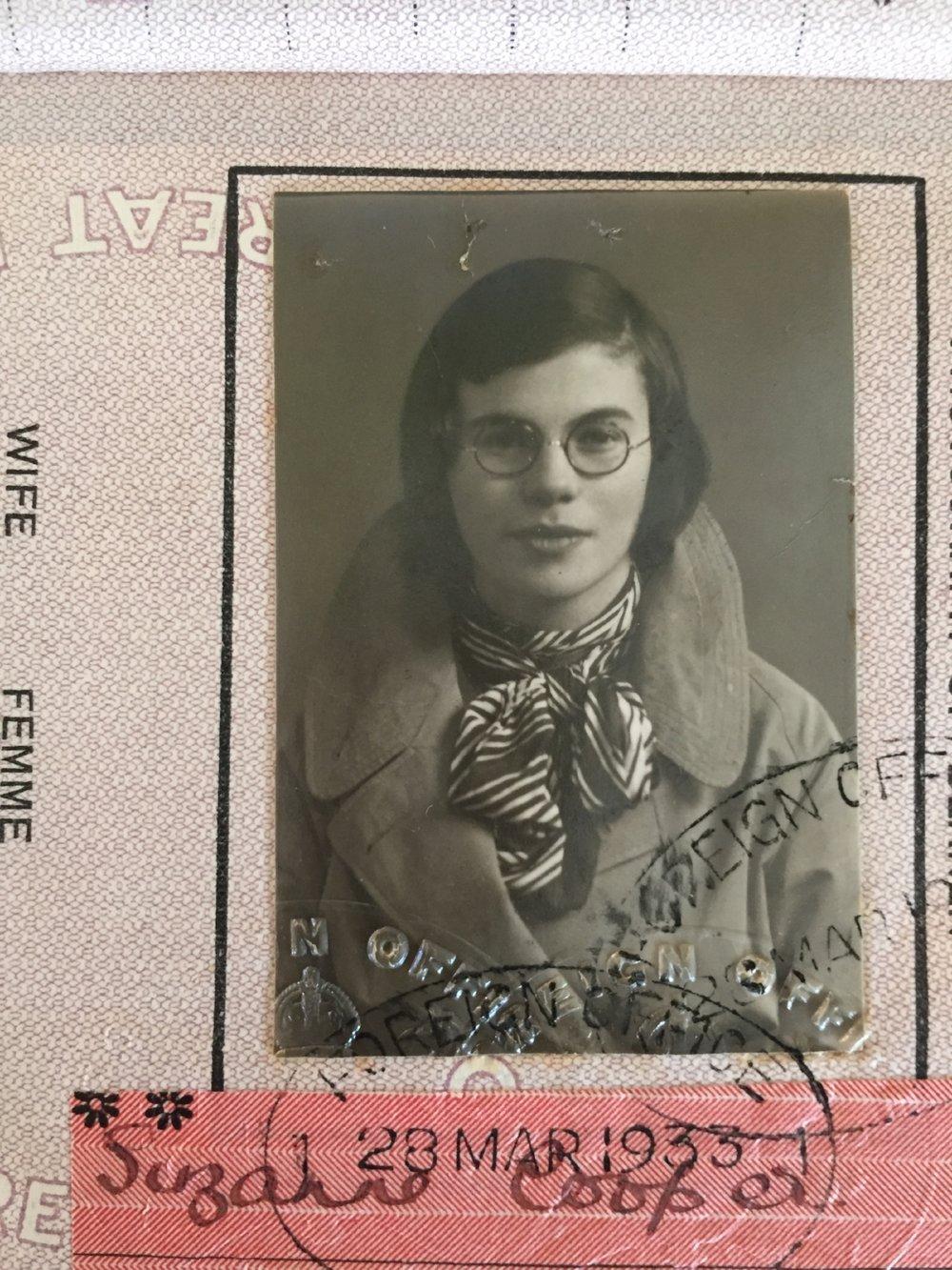 1933 - Her passport photograph, aged seventeen