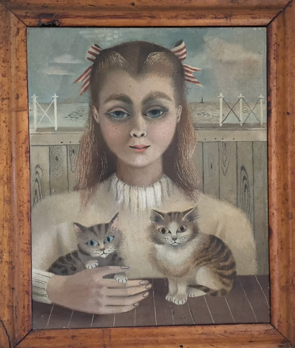 The Cat Girl  -  Shown with the National Society of Painters, Sculptors and Wood Engraversoil on canvas 50 x 40 cmsOne of several paintings of girls or very young women, each with an edge of eerie surrealism.  Girl and kittens gaze at the viewer with disconcertingly similar eyes. Suzanne Cooper's family remark that the girl's strongly arched eyebrows and the double curve of her hairline make this a disguised portrait of Michael Franklin, Cooper's husband.