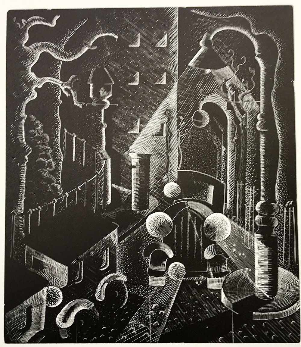 Fog - wood engraving 23 cms x 20 cmsSeveral of Cooper's contemporaries at the Grosvenor School in the 1930s were making lino-cuts under the tutelage of Claud Flight, in a style strongly influenced by Vorticist and Futurist art. This wood-engraving displays a similar aesthetic.A night-time street scene, full of modernist imagery of motorcars and electric lighting, becomes an almost abstract composition.Tantalisingly, the catalogue for a group show at the Wertheim Gallery in 1937 lists an oil painting by Suzanne Cooper also entitled 'Fog'. At least a dozen of her paintings were sold during the 1930s: their present whereabouts are now unknown.£245