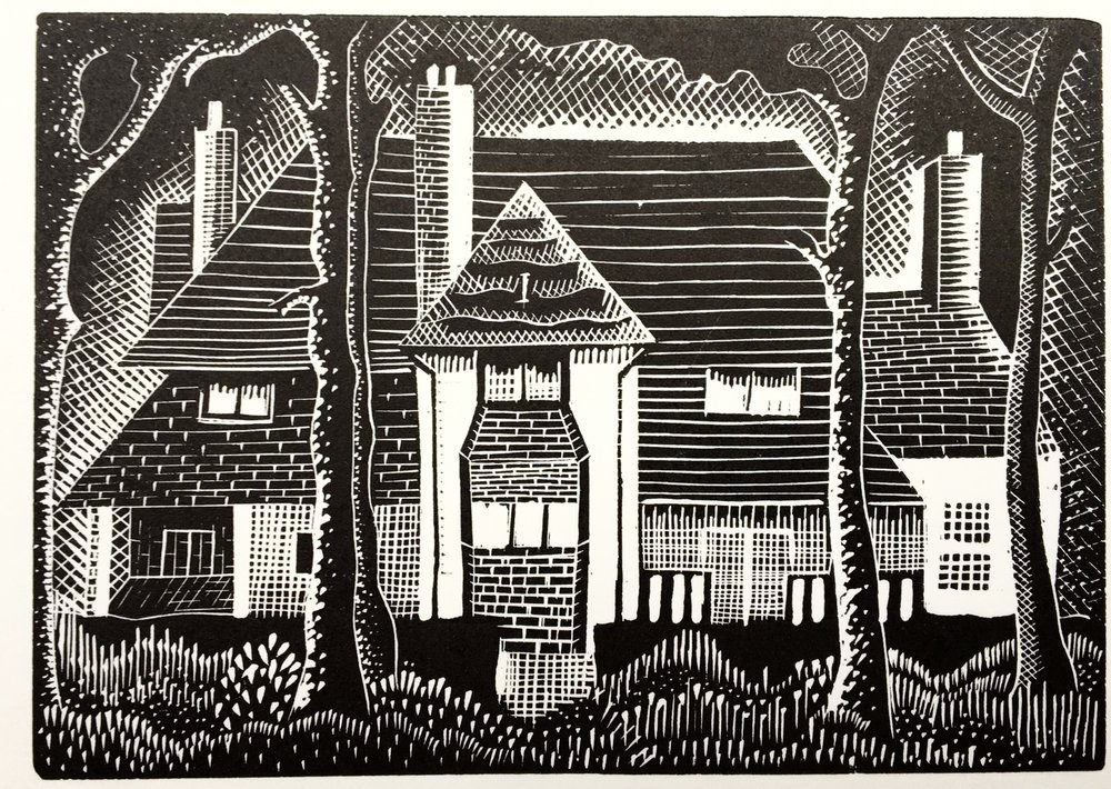The House in the Wood - wood engraving 8 x 11 cmsLooking like the hidden house of a fairy-tale, this is actually a depiction of Cooper's childhood home, Budleigh House on 2nd Avenue in the Essex seaside resort of Frinton.£150