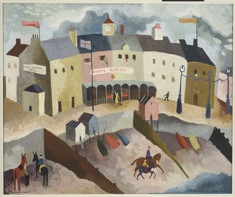 Royal Albion  1936 (oil on canvas)  In 1948 this painting was given to the Auckland Art Gallery, New Zealand, by the influential patron and collector Lucy Carringon Wertheim. It hangs there alongside works by Christopher Wood and Alfred Wallis - artists with whose work Cooper's has much in common.   Mary Kisler (Senior Curator, Mackelvie Collection, International Art, Auckland Art Gallery) writes:  'Suzanne Cooper was one of the burgeoning artists taken under the wing of Lucy Carrington Wertheim, who had herself been encouraged by Frances Hodgkins to set up a modern art gallery. This delightful depiction of the Royal Albion hotel shows a familiar English seaside view. Painted during her time at the Grosvenor School of Art, the artist incorporates the simplified blocks of form and colour popular with other modernist painters in the 1920s and 30s.  Royal Albion  shows similarity in handling to the works of both Christopher Wood and Eric Ravilious in its lively combination of architectural forms and daily activities. Cooper's animated brushstrokes and scumbled surfaces capture the scudding grey clouds and flapping flags blown by the onshore wind. Small boats are drawn up on the beach within the sheltering arms of the wooden groynes, and one can sense the roll and roar of the sea, as horses delicately make their way along the incline of the foreshore.'
