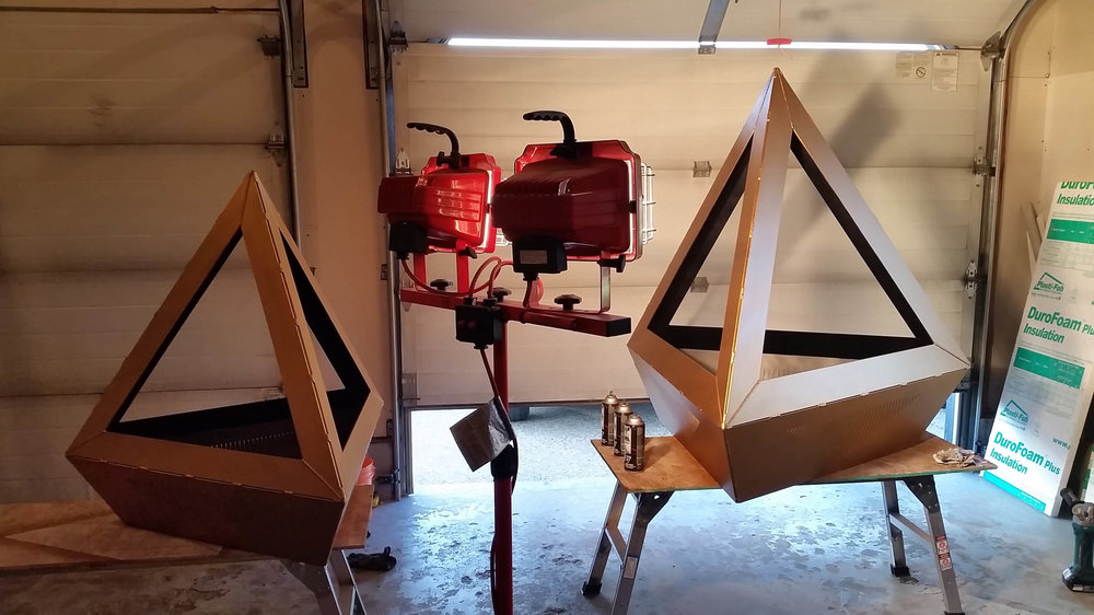 Tetrahedron Fire Pit and Benches