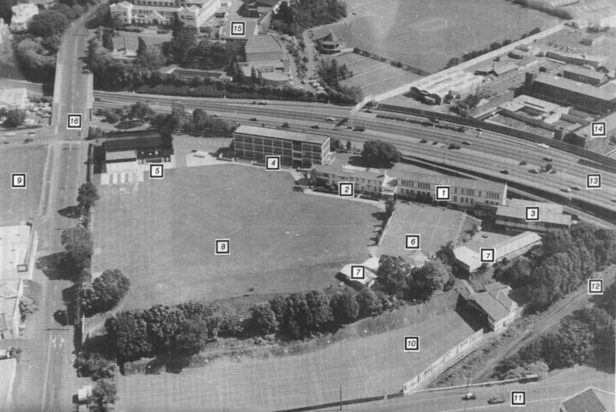 Aerial view of the school which appeared in the 1985 school magazine. Photo taken by Paul Doherty.