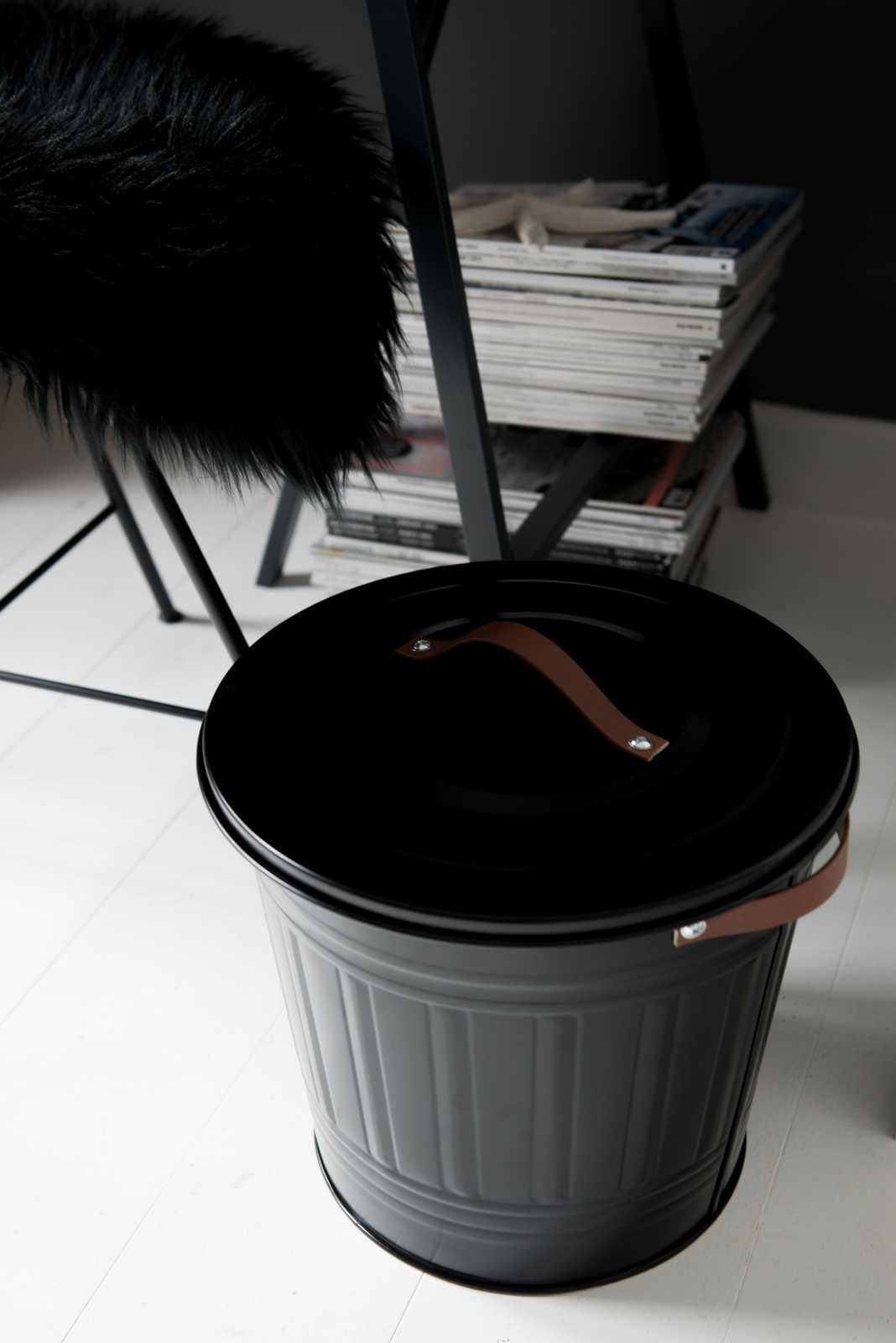 IKEA HACK :: DIY Leather Handle Trashcan