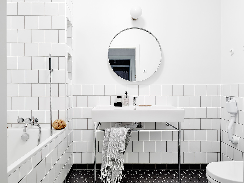 Modern White Tile Bathroom :: House of Valentina