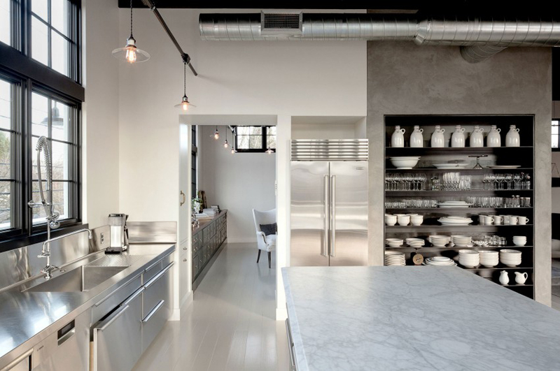 Concrete + Stainless Industrial Kitchen :: House of Valentina