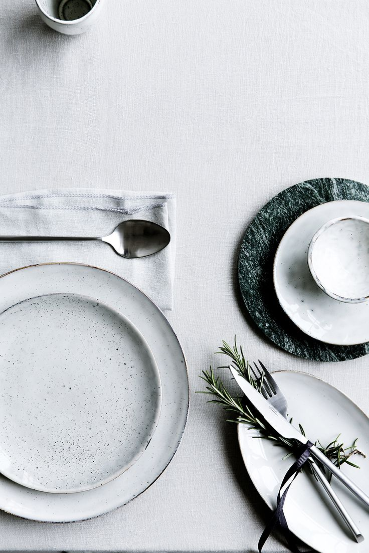 White + Emerald Place Setting :: House of Valentina