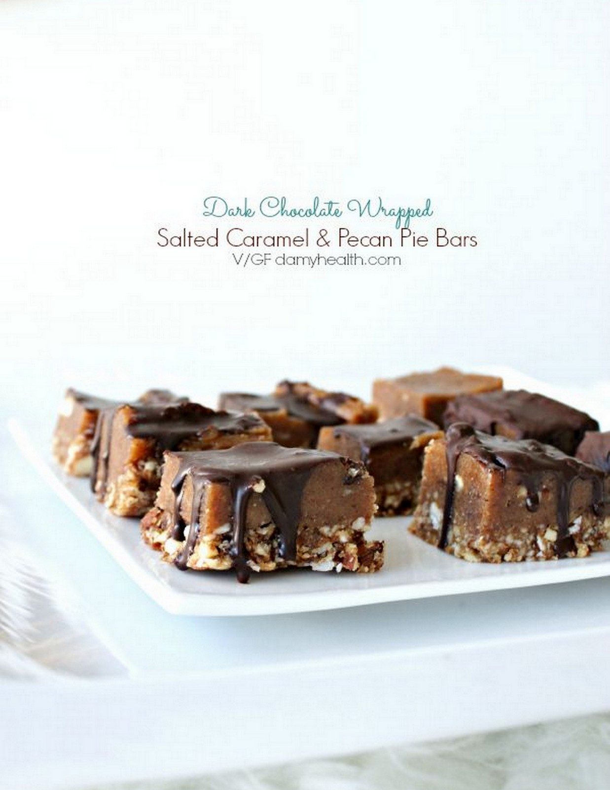 SALTED CARAMEL + PECAN PIE BARS