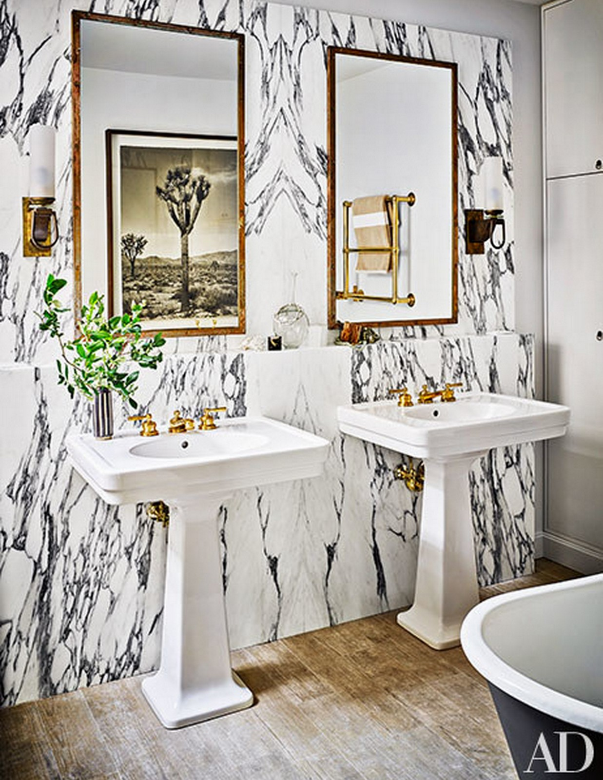 Black + White + Gold Bathroom :: Architectural Digest