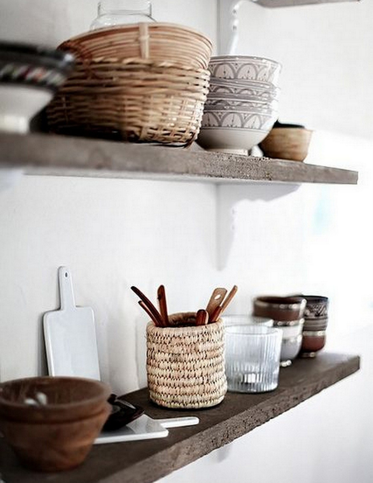 Rustic Shelves + Moroccan Pottery