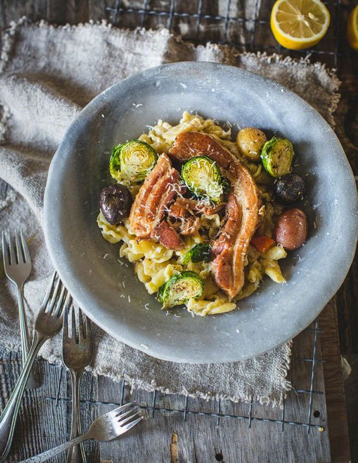 Gigli with braised pancetta