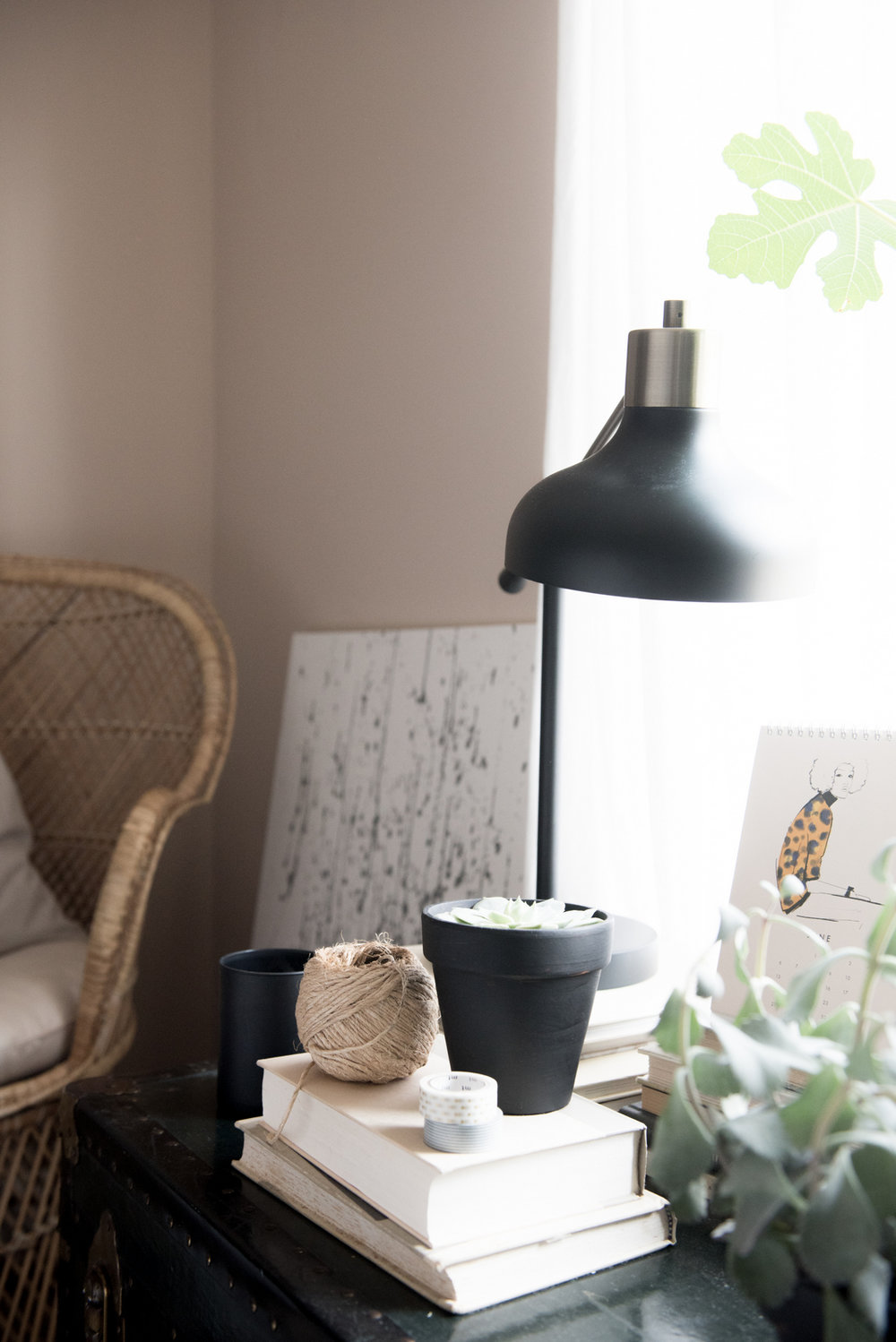 A great lamp from Target and a vintage chair from the basement keep the budget on track. -