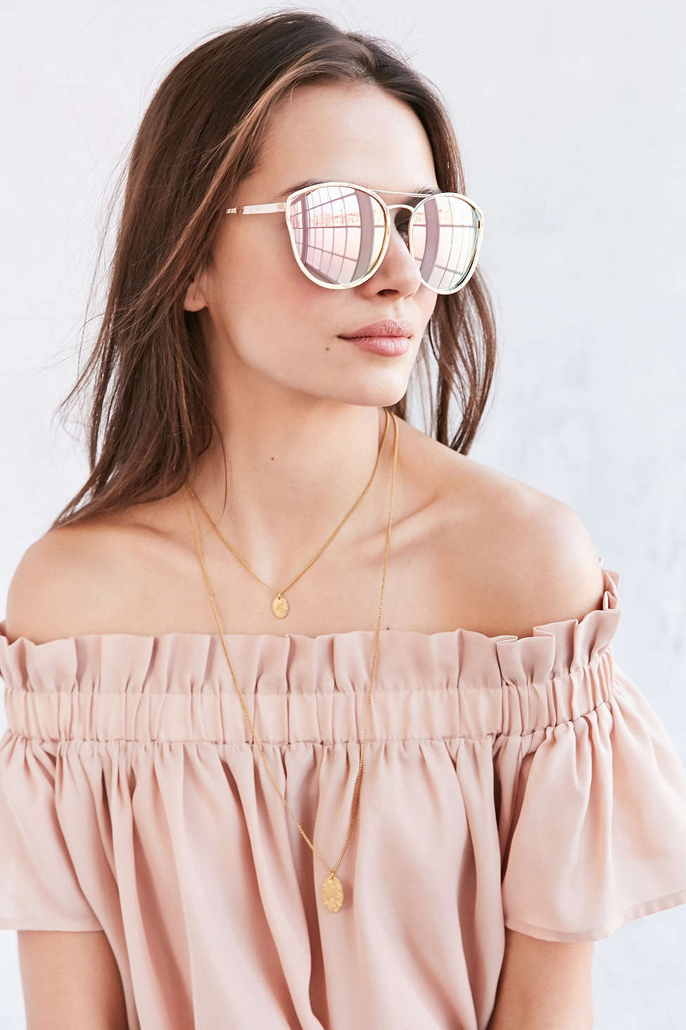 BLUSH TOP + SUNGLASSES