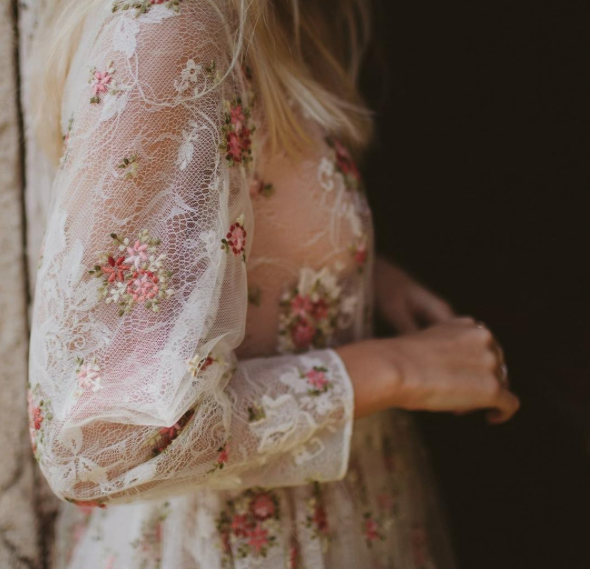 Lace + flower dress