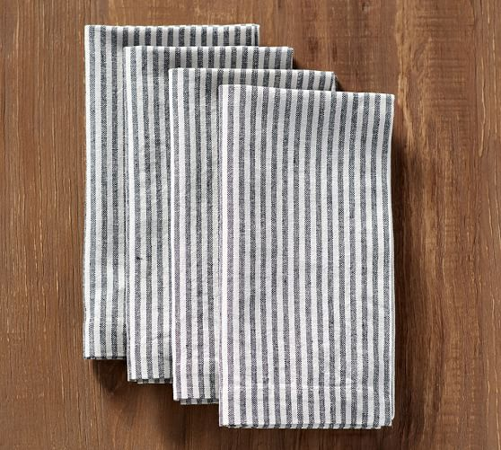 Grey Ticking Napkins