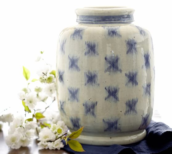Blue Ikat Vase
