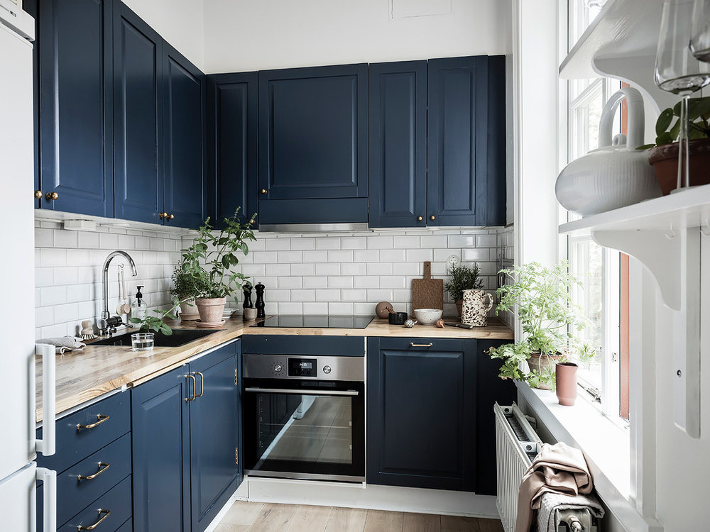 Navy Blue Kitchen Scandinavian Home