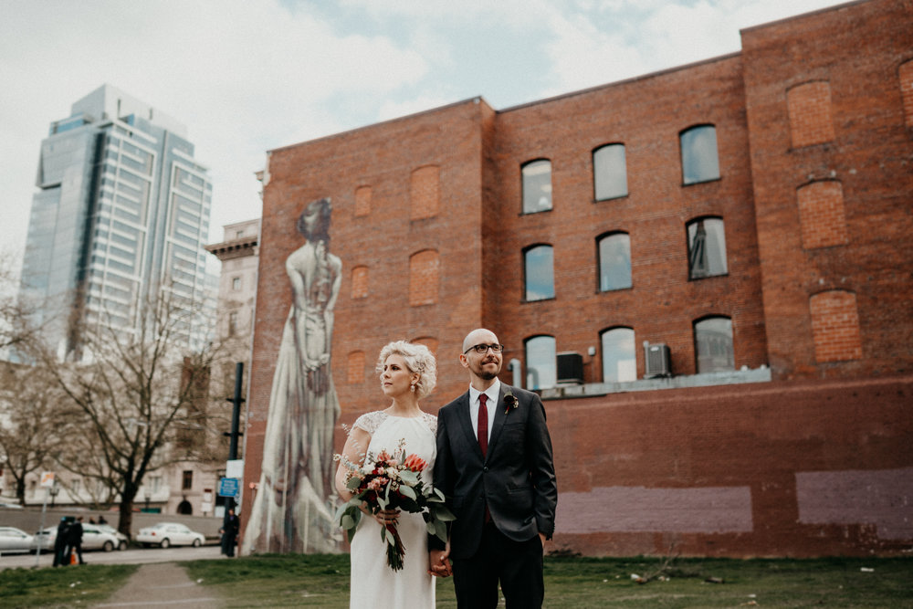 downtown portland rainy wedding