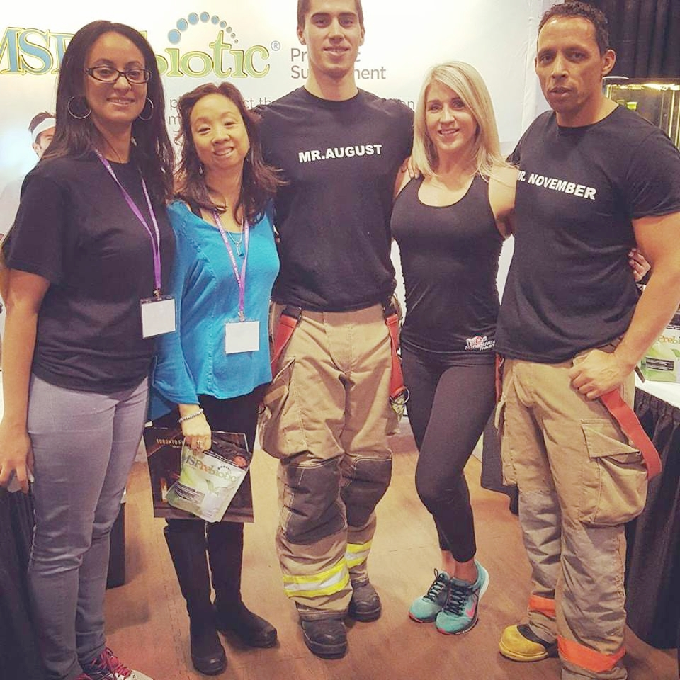 National Women's Show - Nov. 2017 - Sharon had a very fabulous time posing with Mr. August and Mr. November firefighters!