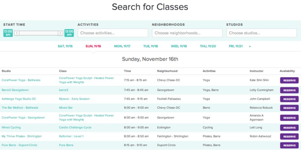 ClassPass Class Search