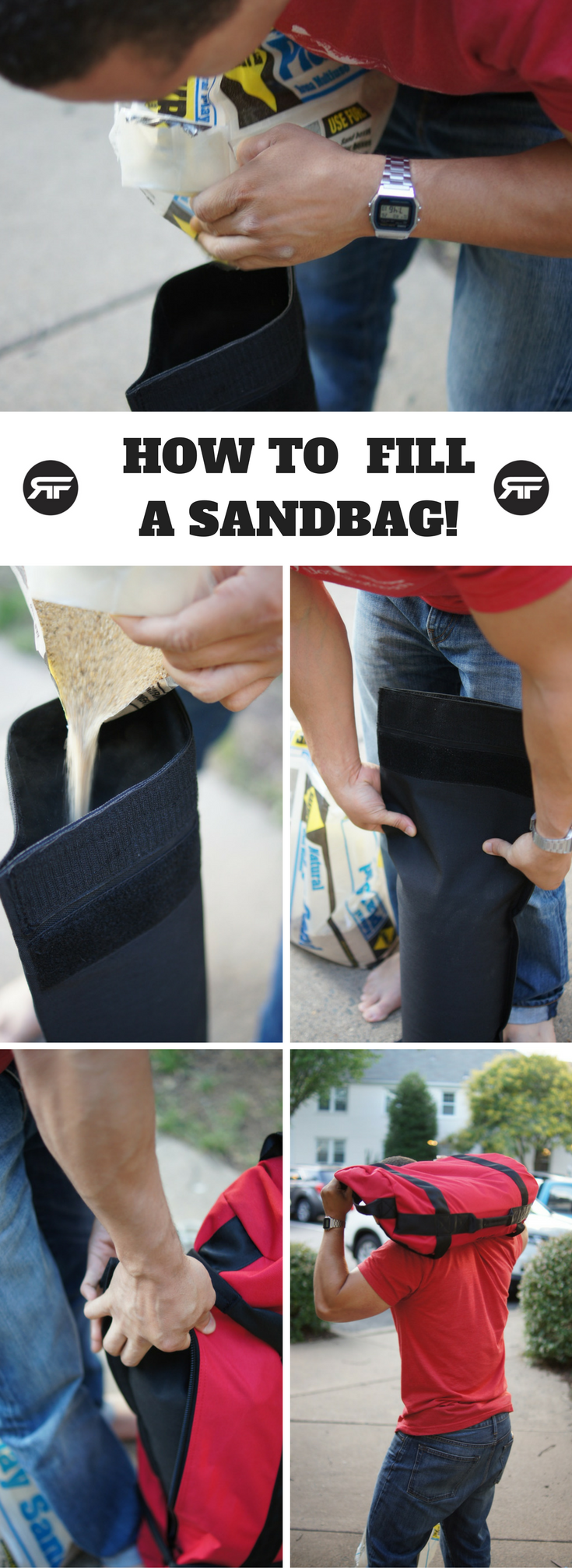 Rep Fitness How to Fill Your Sandbag Pinterest Image 1 (1)
