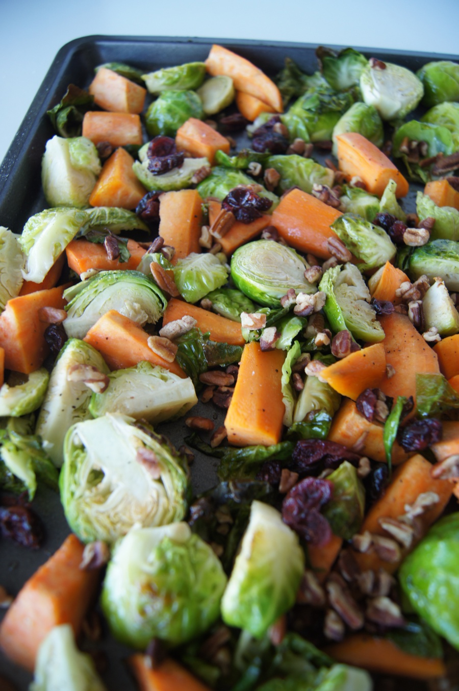 Maple Cranberry Pecan Brussel Sprouts & Sweet Potato Side Dish 11