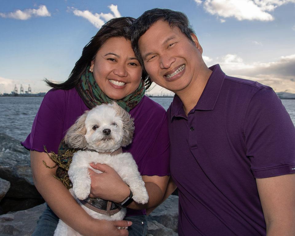 - This couple coordinated cool colors (purple and green). Their white dog Lily pops out nicely in front of the purple fabric.