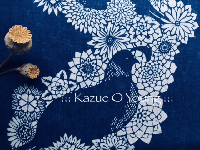 Quail + flowers = LOVE. - Katazome & Indigo made by Kazue O. Young
