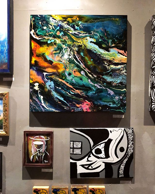 """Last night was so 👏🏻 fun 👏🏻. Thank you to everyone who came to the """"Art Will Save Us Party"""" and supported the local Austin artist community. 🦋 #artwillsaveus #cherrycoladog #mckenziefarrellart #austinartists #acrylicart"""