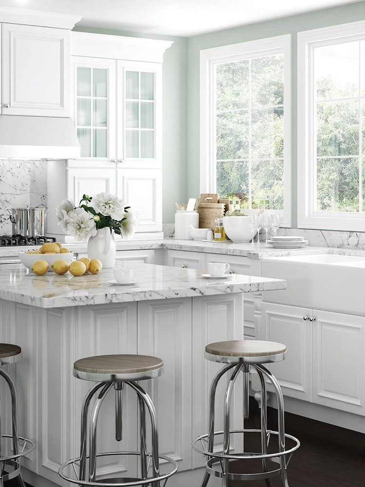 White kitchen cabinets & island –  The Home Depot