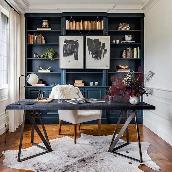I love the dark cabinets in this home office from  Authenticity B Designs .
