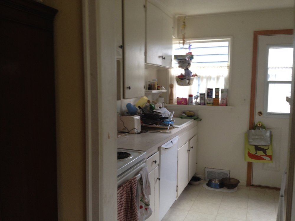 Before: A teeny kitchen with no counter space