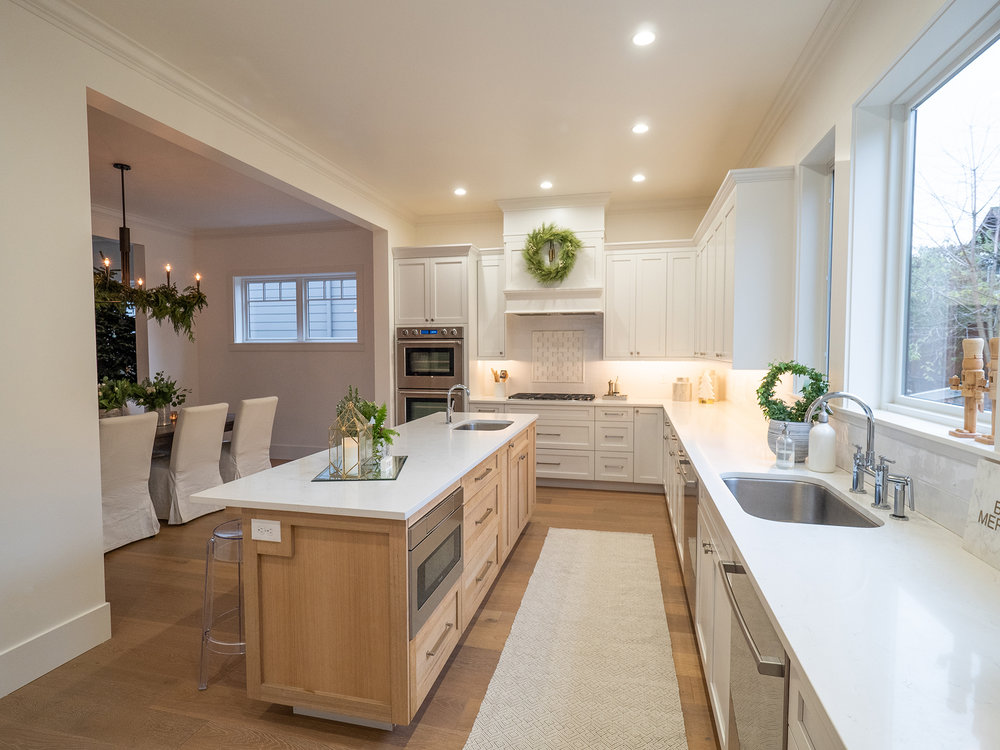 A white kitchen is the perfect base for seasonal decor.