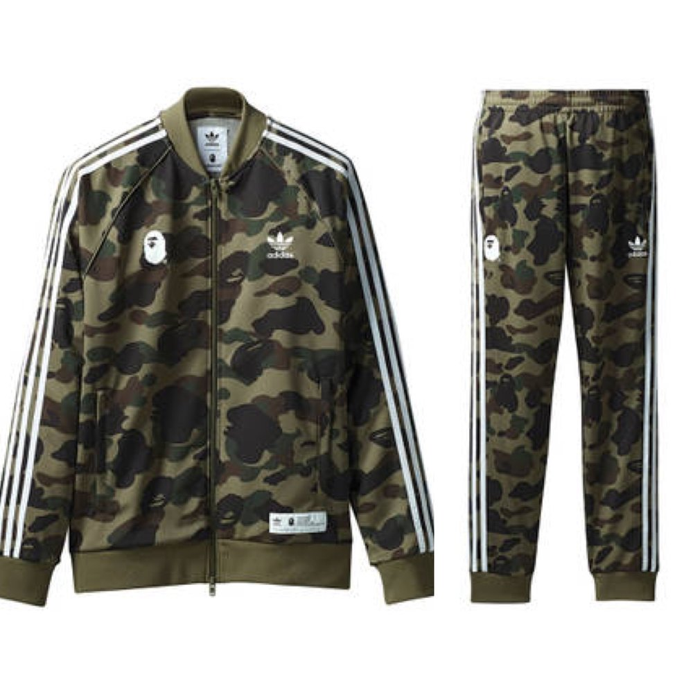 5b2d612c7dc81 Adidas has partnered with Japanese streetwear brand, BAPE which has put a  spin on the iconic adidas tracksuit. All of the pieces feature BAPE's  camouflage ...