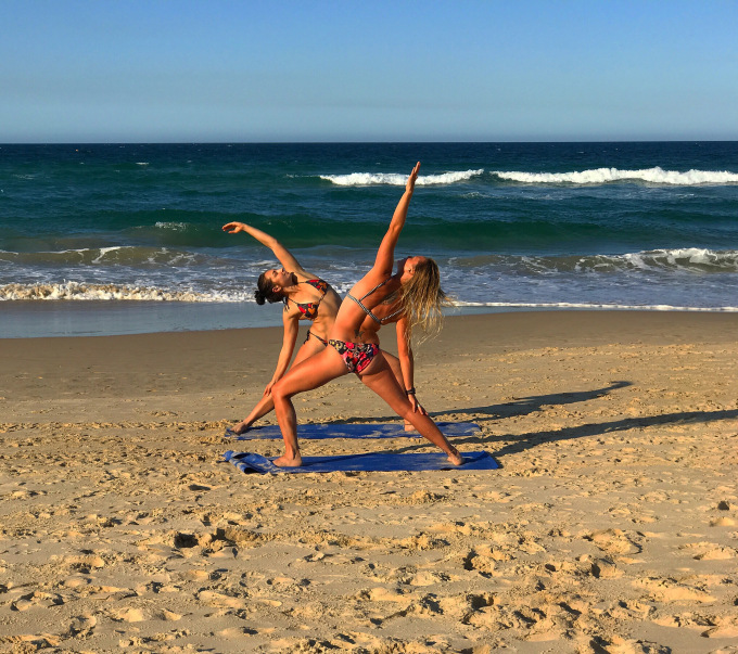 Fee & I doing some afternoon beach yoga, Maroochydore Main Beach QLD
