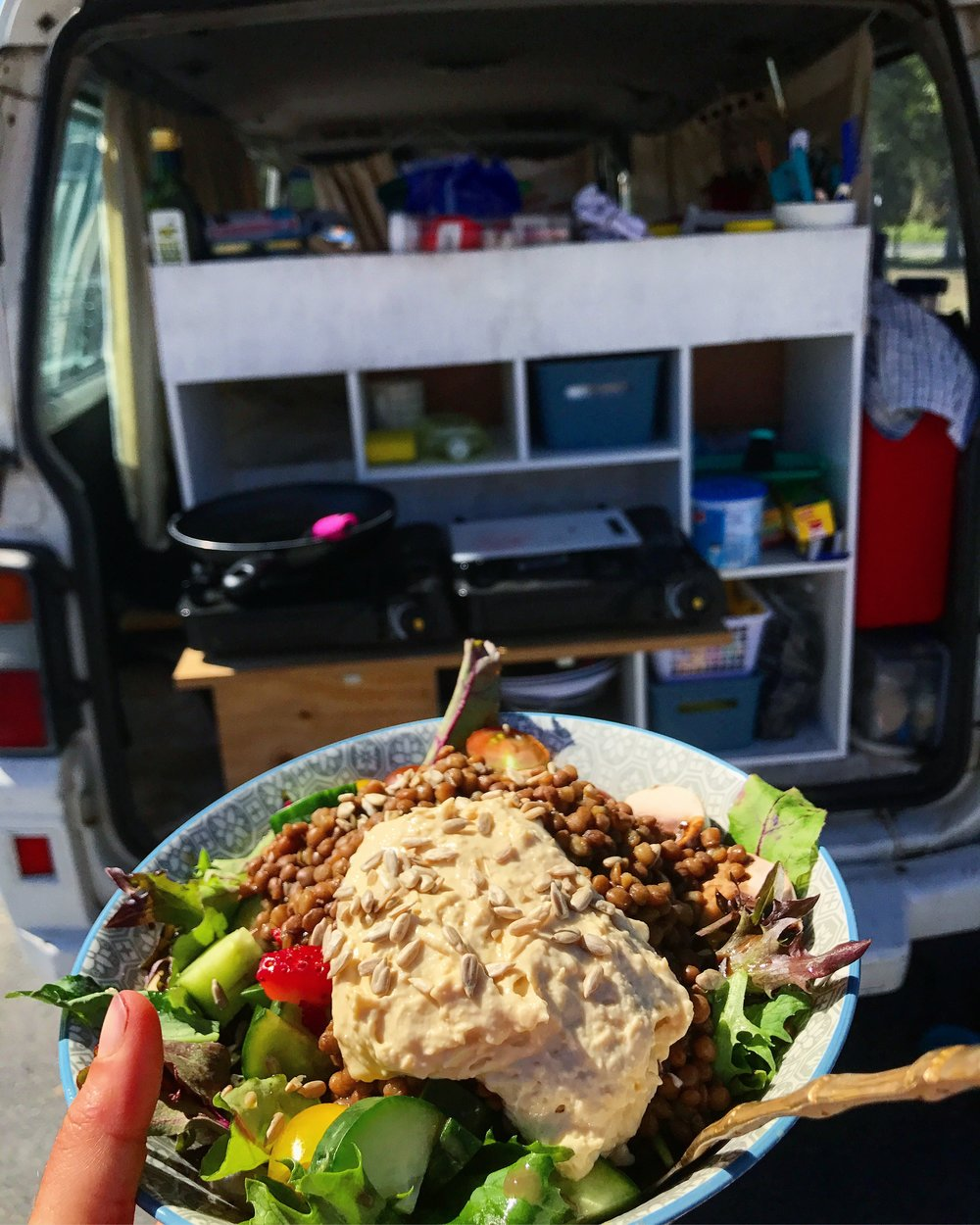 Road trips don't mean you have to be unhealthy (lentils, hummus and a yummy salad).