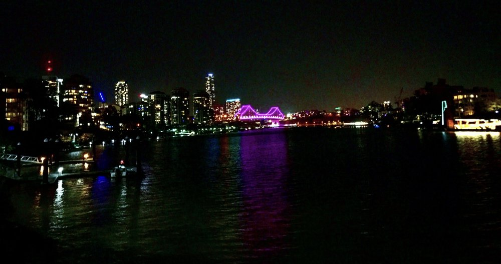 The view of Brisbane city (where we camped at the ferry port car park).