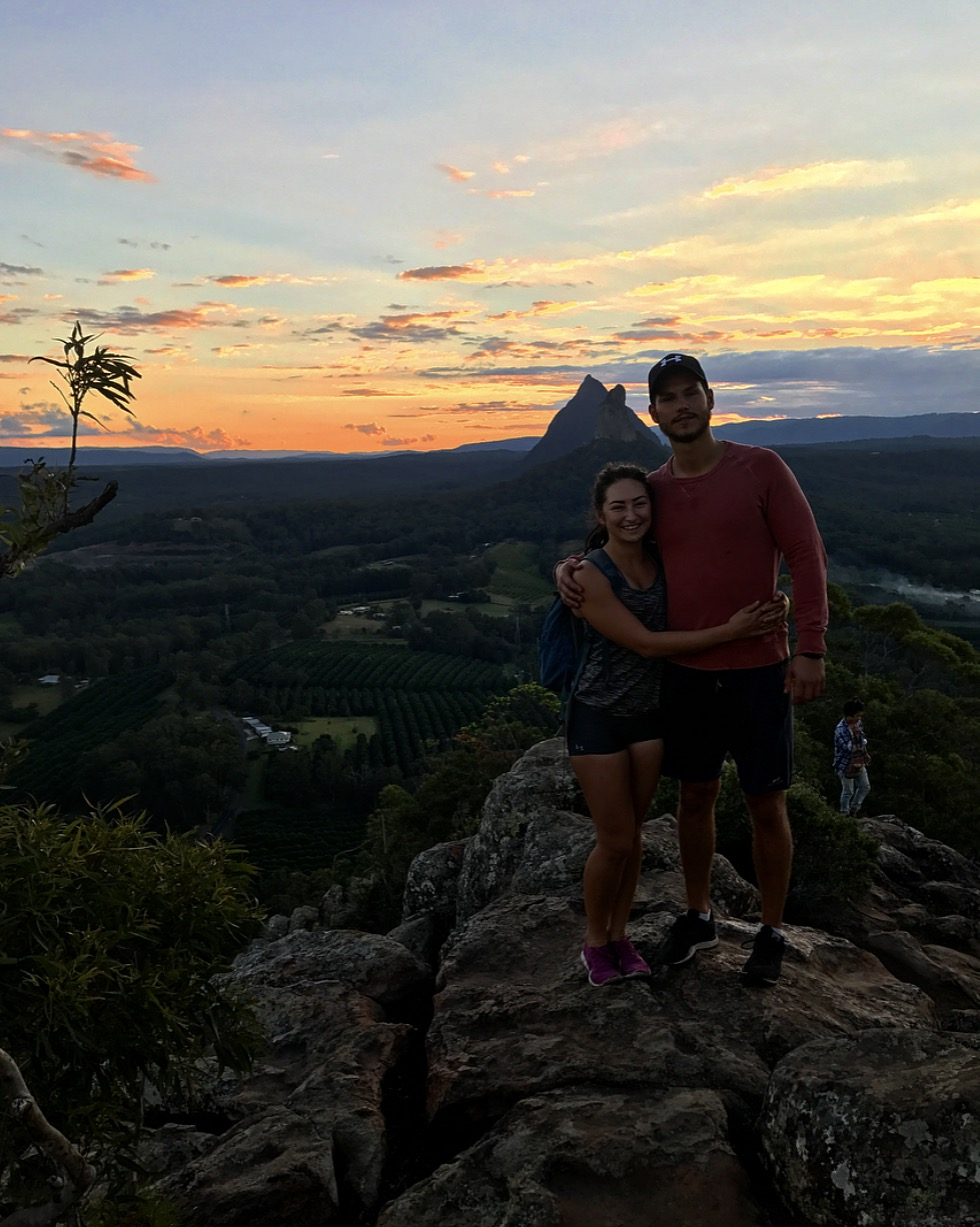 On one of our Sunday sunset hikes at Mount Ngungun, Glass House Mountains (Sunshine Coast).