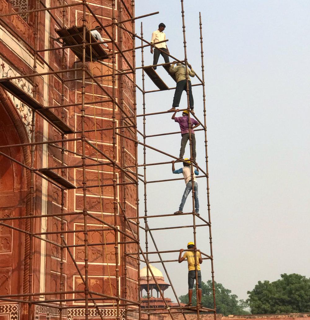 'Health and safety' at the Taj Mahal, Agra.