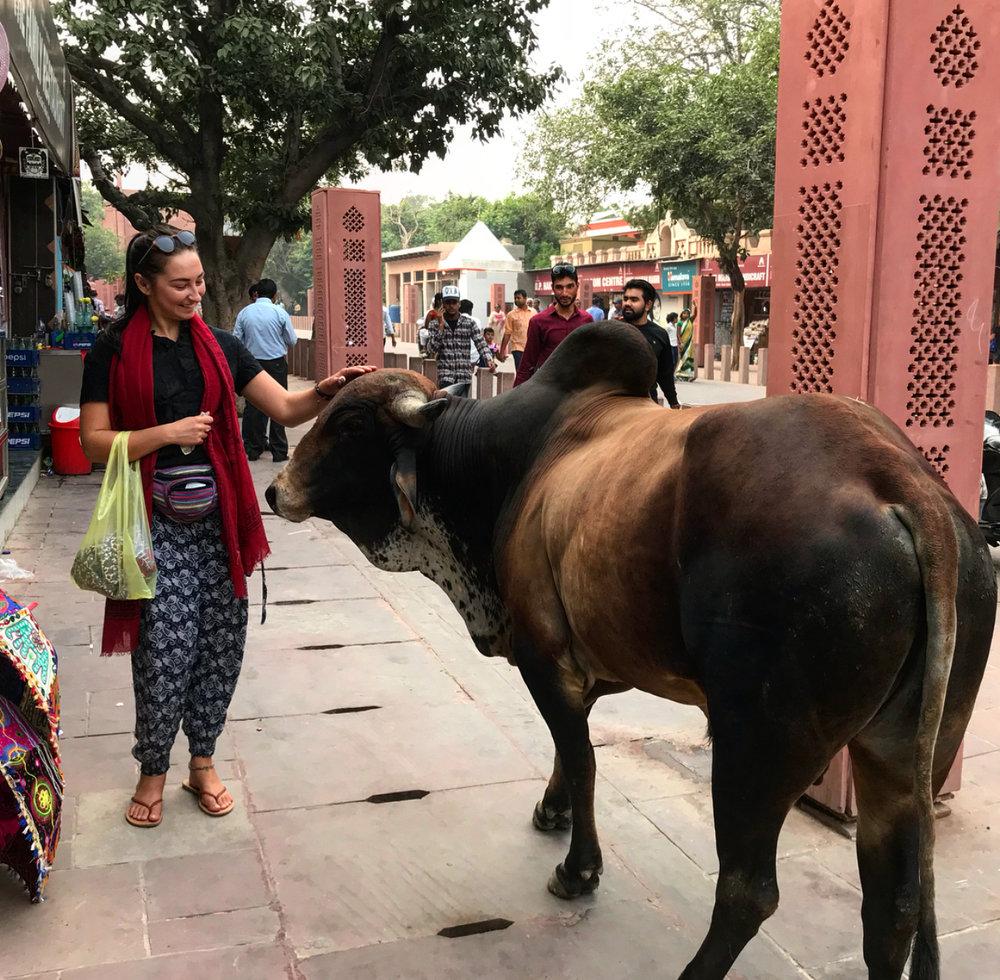 Making friends in India.